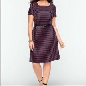 Talbots square Neck pink black striped dress 14W